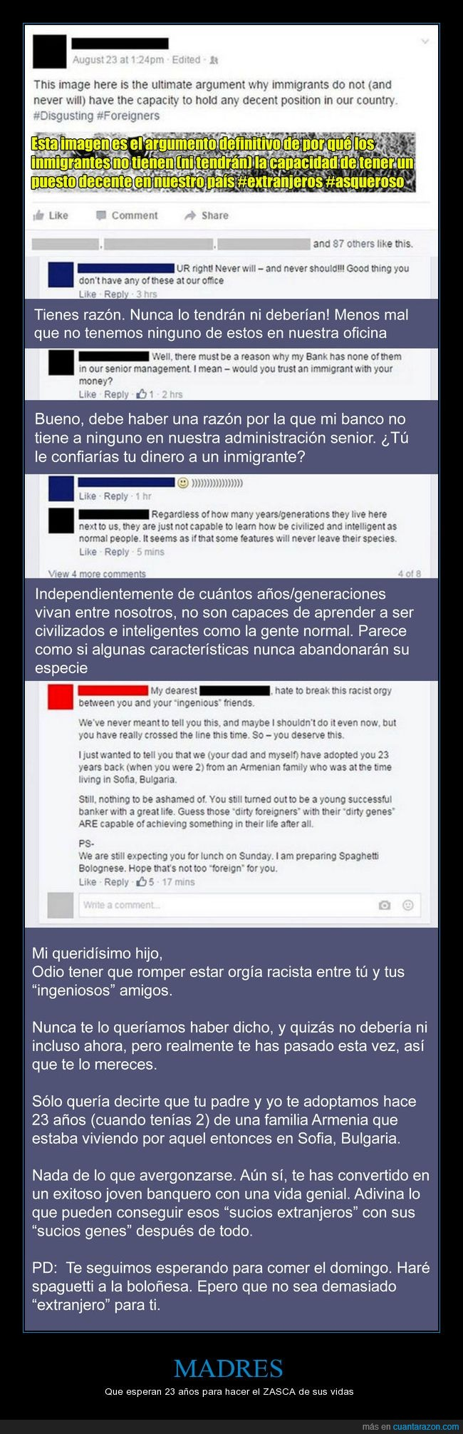 armenio,facebook,hijo,madre,racista,zasca