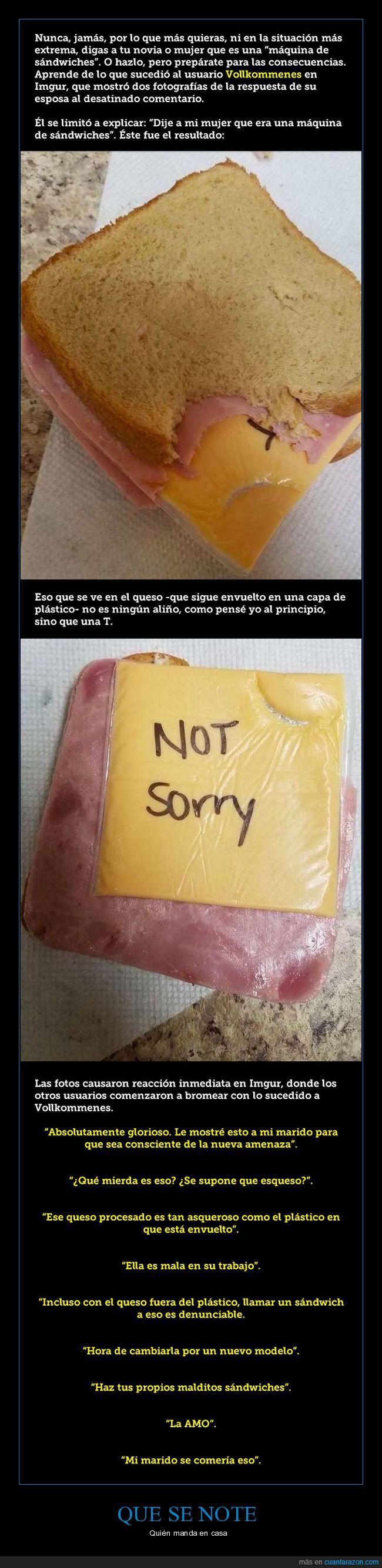 mujer,queso,sandwich,tranchete,venganza