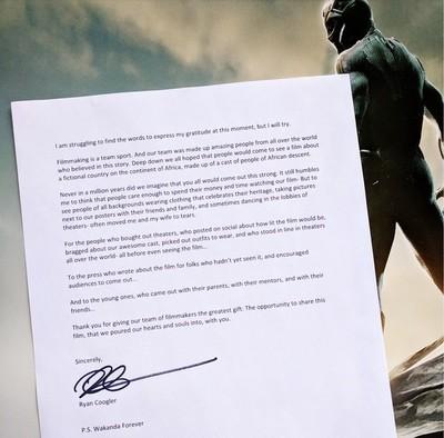 22819 - La emotiva carta de agradecimiento del director de Black Panther a todos los que han visto la película